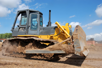 Bulldozer earthmover in action