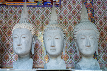 the statue head of buddha image in thai temple