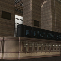 An Empty Central Station. 3D rendering with clipping path and sh