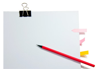 PAPER CLIPS with paper blank and pencil