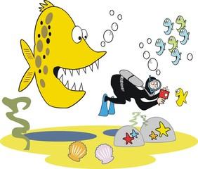 Funny skin diver cartoon