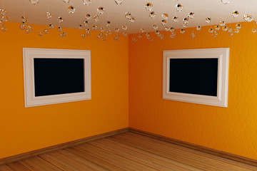 Orange corner in empty room with frames