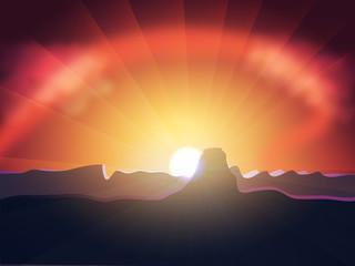 Luminous Vector Sunset