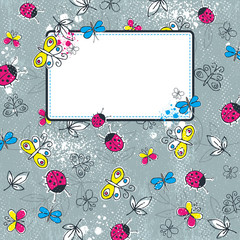 grunge background with  butterflies, vector illustration