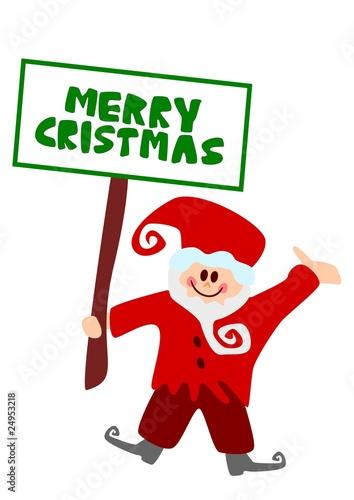 Weihnachtswichtel mit schild merry christmas stockfotos und lizenzfreie bilder auf fotolia - Clipart weihnachtswichtel ...