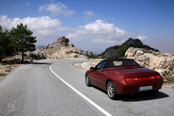Cabriolet across Sierra Nevada in Spain