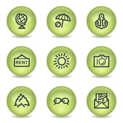 Travel web icons set 5, green glossy circle buttons