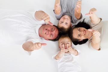 happy family thumbs up