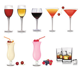 Set of cocktails. Vector illustration.