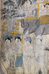 old painting, Wat Ban Lan, Ban phai, Khon Khan