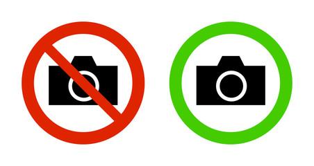 ピクトグラム カメラ 撮影禁止・撮影可能マーク
