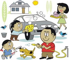 Family household chore cartoon