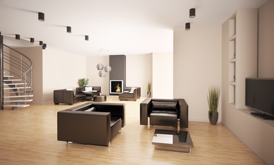Apartment mit kamin und treppe 3d