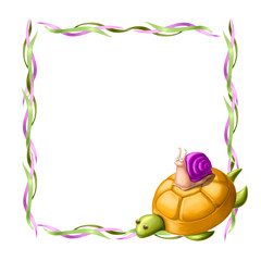 Border with turtle and snail