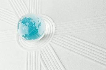 青い地球と砂ライン