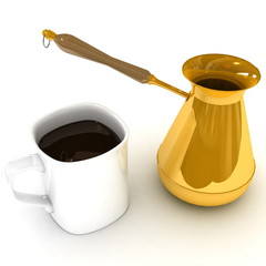 a cup of coffee with a Turk