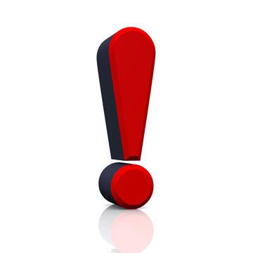 3D Ausrufezeichen - Rot Schwarz