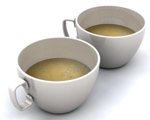 cups of coffee isolatedon white