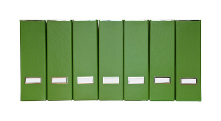 Green magazine files in a row