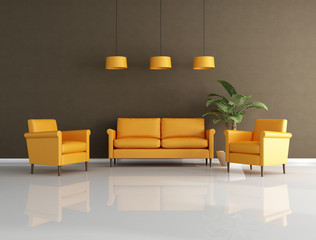 orange and brown lounge
