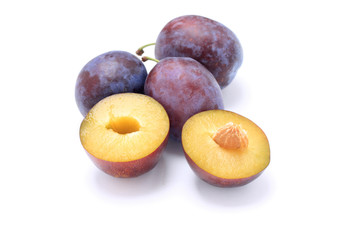 Beautiful issolated plum on white background