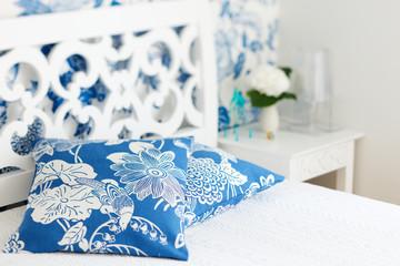 Bedroom interior closeup pillows