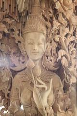 wooden carving and decorating, Buddha Park, Korat