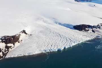 Surface of a flowing glacier. Aerial view. Arctic region