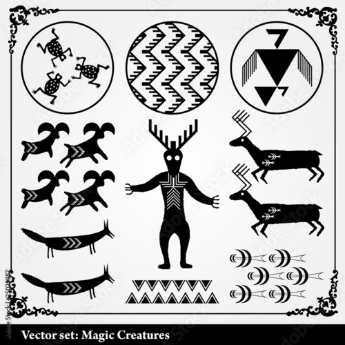 Mystic Vector Background With Symbols From Africa Stock Image And