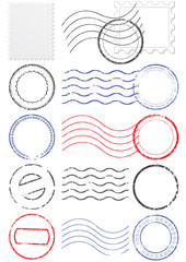 Vector set of different postmark and stamps.