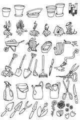 hand draw garden icon collection vector