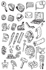 hand draw money icon collection vector