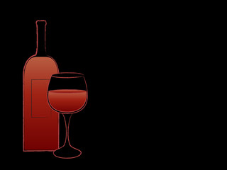 Red wine bottle and goblet