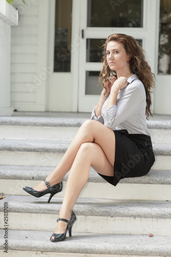 quotwoman sitting with her legs crossedquot stock photo and