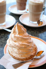 Coffee with meringue cake