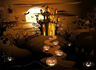Halloween Sfondo Notturno-Halloween Night Background-Vector