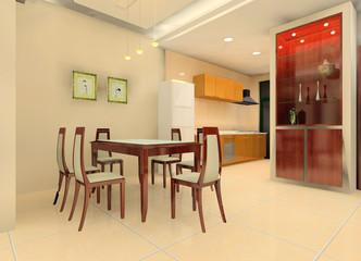 a modern kitchen illustration design