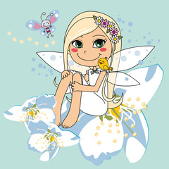Sweet white pear blossom fairy