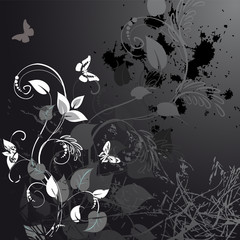 grunge floral design with butterflies
