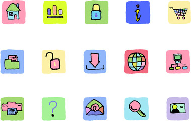 website and internet icons Bright colors