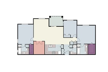 Architectural floor plans of three-bedroom apartment