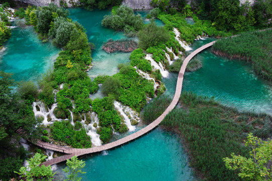 Waterfalls in Plitvice National Park. Aerial view.