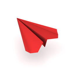 red origami plane