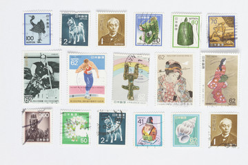 collection of blank post stamps