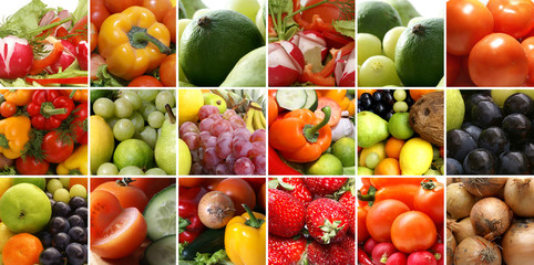 Nutrition collage with fruits, vegetables and berries