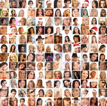 A collage of different female portraits