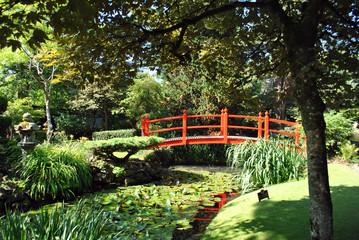 red wooden bridge in the japanese gardens ireland