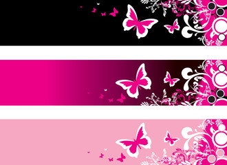 floral butterfly banner