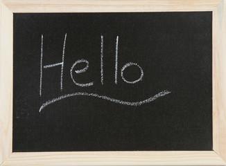 Hello on chalk-board.