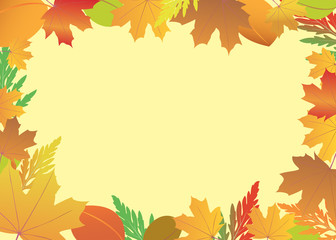 vector frame with red and yellow leaves